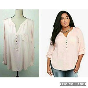 Torrid Pink Sheer Cargo Shirt Long or 3/4 Sleeve